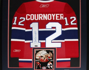 Yvan Cournoyer Montreal Canadiens NHL signed jersey frame