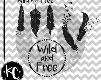 Wild and Free, Arrow Monogram Frame, Feather to Birds, Tribal, Feathers, .SVG/.PNG/.EPS Files for Every Vinyl Cutting Machine