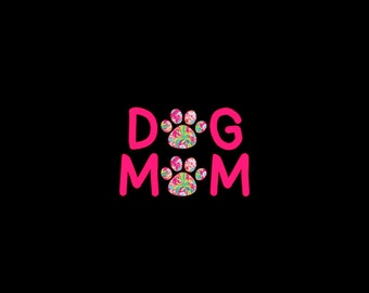 Dog Mom Paw Print Vinyl Decal in seventy different preppy prints!  Choose your favorite today!