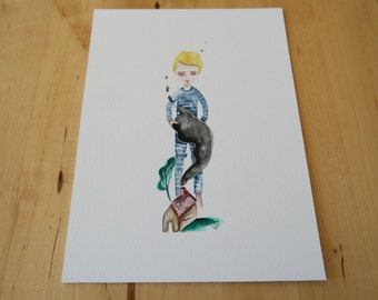 Dreaming of Home Nostalgic Kid Print from an original Watercolor Small 13x18 size