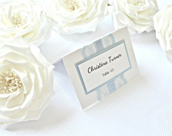 Blue lace wedding place cards, lace place cards, blue place cards, light blue place cards, lace placement cards, seating cards