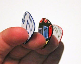 Colorful Sanded Guitar Picks from Recycled Materials - Inked Edges - Set of 10