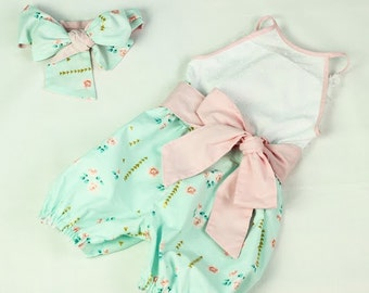 Baby Romper Playsuit & Head Wrap in Mint Green White Pink up to age 5 yrs