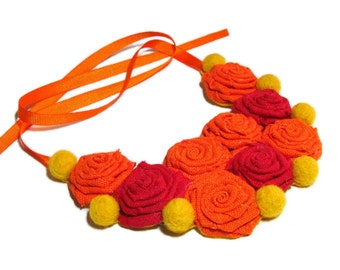 Red Yellow Orange Necklace, Fabric Necklace, Wool Necklace, Linen Necklace, Bib necklace, Gift for her, For women, For girls