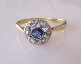 Platinum and 18ct Sapphire and Diamond Star Ring
