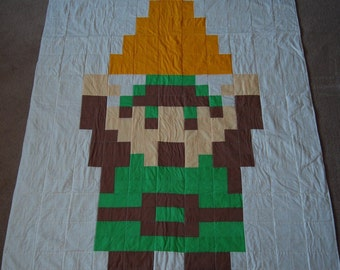 Pixelated Link Legend of Zelda Quilt