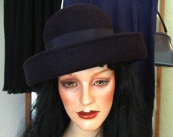 Vintage 1980's Navy Hat * Wool * Tonak