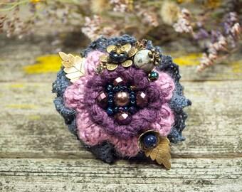 """Textile brooch, flower brooch, brooch boho,  crochet bouquet, crochet flower brooch,  crochet flowers,  crochet jewelry,   """"ANABEL"""""""