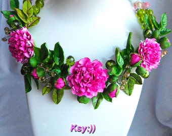 Peony Necklace and Studs Peony Jewelry Pink Peony Statement Necklace Wedding Jewelry Set Peony Wedding Flower Jewelry Real Flowers