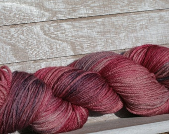 Hand dyed worsted weight yarn, Indie worsted weight merino superwash wool, Pink and rose hand dyed yarn