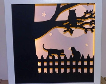 Cat and owl silhouette Framed Night light