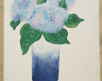 Hydrangeas in Bloom - flower painting