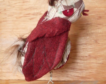 Owl plush - feather and maroon