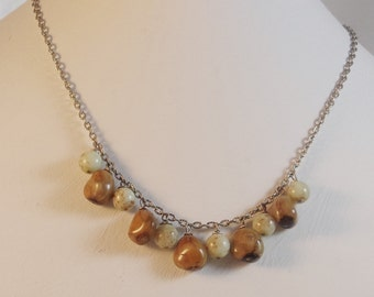 Robin's Egg and Birdseed Necklace with Bracelet and Earrings