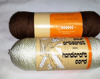Handicraft Cord, Macrame, 4 balls, 2 brown, 2 white, 6 oz (170 gm) 270 ft (82 m), Polypropilene