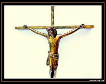 Vintage crucifix (cross) made of copper.