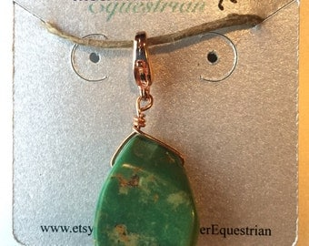 Hand Wired Turquoise and Copper Tack Charm