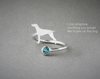 Adjustable Spiral GERMAN POINTER BIRTHSTONE Ring / German Pointer Birthstone Ring / Birthstone Ring / Dog Ring