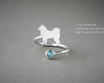 Adjustable Spiral SIBERIAN HUSKY BIRTHSTONE Ring / Husky Birthstone Ring / Birthstone Ring / Dog Ring
