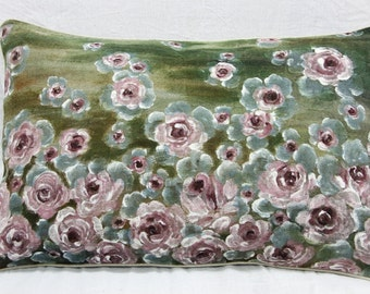 Washed Linen real Hand painted Pillow w/o filler