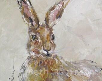 Henrietta - hare art card