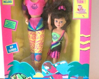 1992 Kid Kore My Big Sister  Big and Little Sister Dolls With Roller Skates New In Box - Clothes Fit Barbie and Stacie Dolls