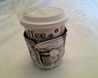 Coffee Cup Cozy Coffee Cup Sleeve Black White Print