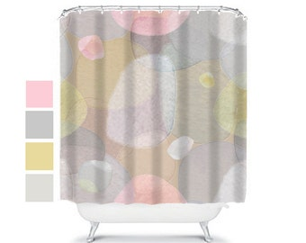 unique shower curtain, modern shower curtain, shower curtains, extra long shower curtain, bathroom decor, abstract decor, pink, tan, chic