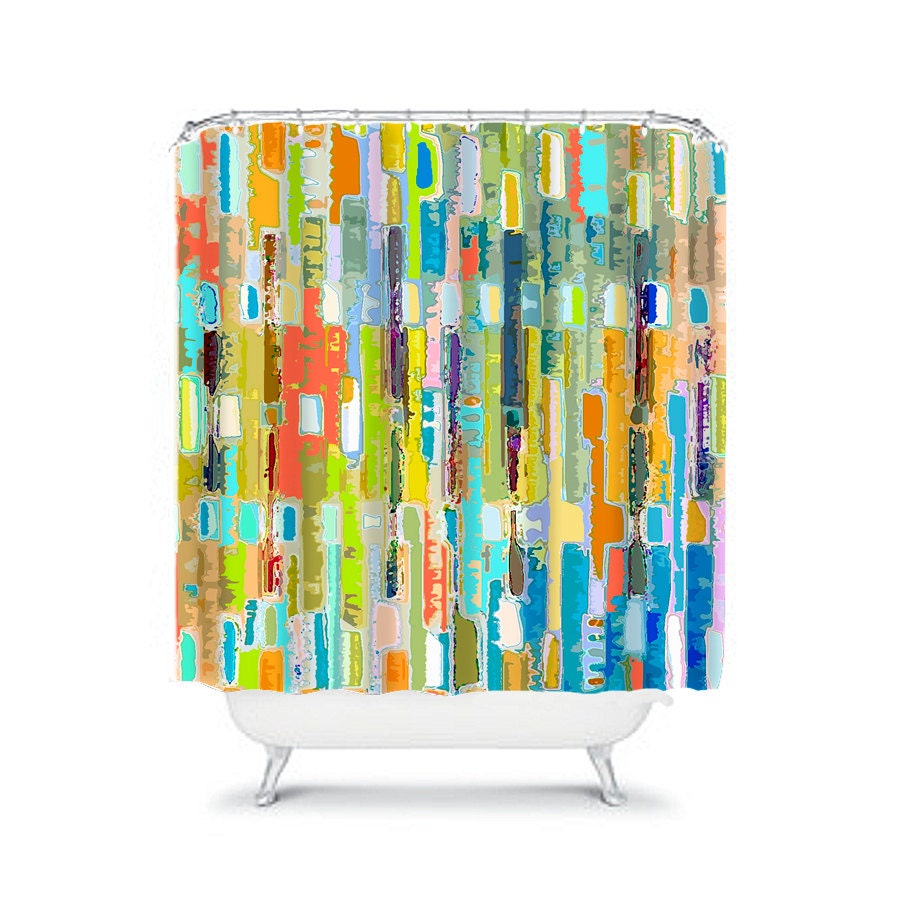 Colorful Shower Curtain Blue Bathroom Decor Colorful Bathroom