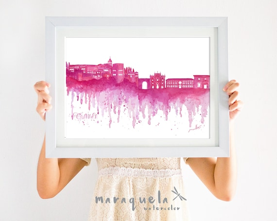 GRANADA Skyline Wine Red hues, watercolor skyliner Granada city, Spain, art print, poster Andalucia ,gift GRANADA decoration trip, wallart