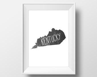 Kentucky State Black Chalkboard Printable Art, Kentucky State Print, Kentucky Art, Modern Art,