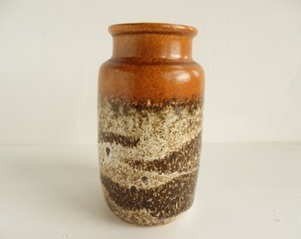 "Fat Lava West German jar vase, Scheurich in earth tones , 6"" - 237-15"