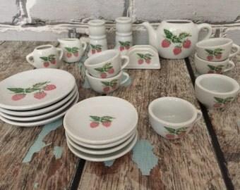 Toy Strawberry Tea Set Vintage 20 piece set  #1-0079-27