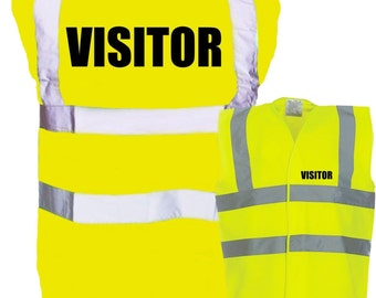 Adult VISITOR Enhanced Safety Vest Waistcoat Hi Viz/Vis Visibility - Party/Festival/Organising