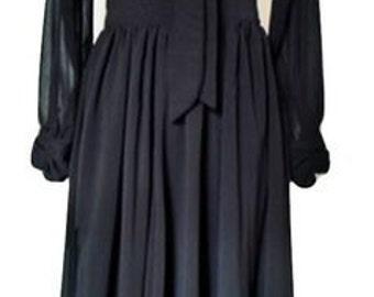 Beautiful Vintage black chiffon dress, size S