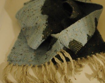 Blue and Green Clasped Weft Scarf
