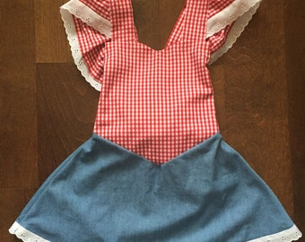 Farm Inspired Gingham and Denim Dress