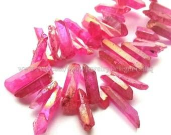 1 Strand Titanium Crystal Quartz Drilled Beads Natural Crystals Magenta Aurora Quartz Bead Titanium Plated Stones Approx. 8inch strand