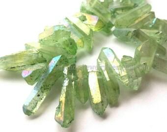 1 Strand Titanium Crystal Quartz Drilled Beads Natural Crystals Lime Green Aurora Quartz Bead Titanium Plated Stones Approx. 8inch strand