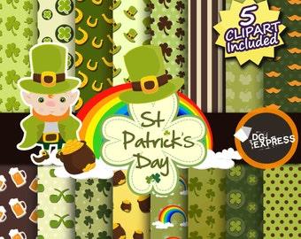 "St Patrick's Day Digital Paper : ""SAINT PATRICKS Digital Paper"" - Irish Clipart, Invite, Luck of the Irish, Leprechaun Clip art, Shamrock"