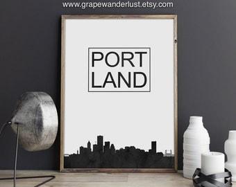 Portland art, Portland poster, Portland wall art, Portland skyline, Oregon art, skyline print, home wall art, Cityscape, City Skyline