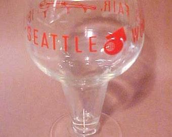 1962 Seattle WORLD'S FAIR unusual, fancy stem Beer Glass - Monorail