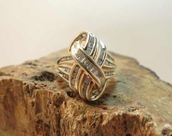multi diamond 14k yellow gold fashion ring