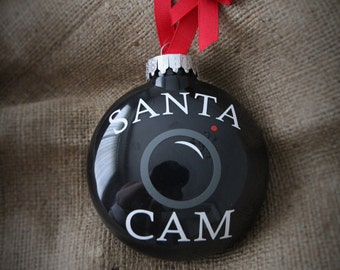 Medium size SANTA CAM X-mas ornament. Elf family tradition Christmas bauble bulb Holiday tree decoration xmas camera black ball ornaments