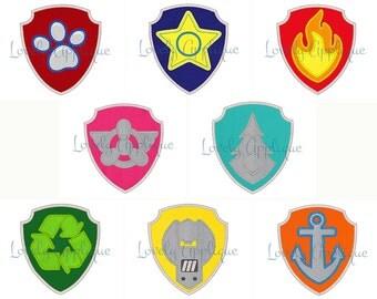 Paw Patrol Badges Appliqu Designs Set Of 8 Ryder Chase Marshall