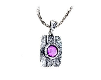 Cubic Zirconia Pendant, Silver square Pendant, Silver purple Necklace Pendant, Cubic Zirconia Jewelry, Cubic Zirconia  Pendant, handmade