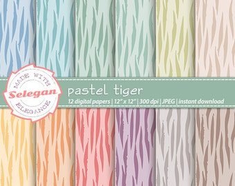 Pastel Tiger, Digital Paper, Scrapbooking, Paper, 12x12, Printable, Pattern, African, Wild, Animal, Tiger, Texture, Pastel, Background