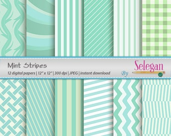 Mint Stripes, Digital Paper, Scrapbooking, Paper, 12x12, Printable, Strip, Pattern, Geometric, Texture, Background, Download