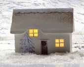 White Christmas cottage. miniature house. hand made with a light