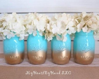 Baby Shower Mason Jar Centerpieces, Ombre Mason Jars, Baby Teal And Gold,  Painted